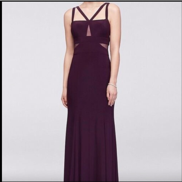 Xscape Dresses & Skirts - USED Xscape Strappy Peekaboo Mesh Jersey Gown